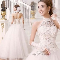 2014 new ivory Sexy Off shoulder flower bride wedding dress Sweet tulle Lovely princess dress gothic luxurious wedding dresses
