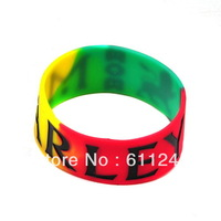 Min order is usd15(mix order)12ps/Lot Fashion Custom Words/Letters Logo Print BOB MARLEY Silicone Bracelet
