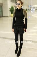 Free Shipping New 2014 Women Sweatshirt Knitted Long Sleeve Solid Blends Fashion Sheetmetal Patchwork Slim Black High Collar