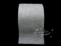 free shipment 24Row Diamond Rhinestone Platinum Ribbon Mesh Wrap Wedding Home Decorations  x10 yards