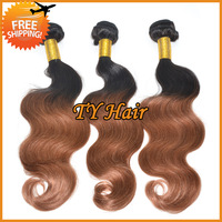 cheap ombre hair extensions body wave brazilian virgin hair 3pcs lot 100% ombre hair bundles colored #1b 30 two 2 tone color