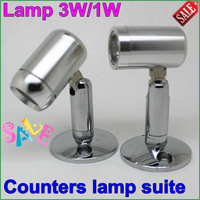 2 pc/lot Freeshipping led counter lamp small spot light counter showcase spotlights kit diy lighting shell1w/3w finished product