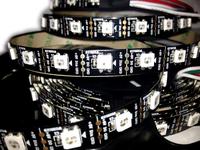 5v input 4m 60 pixel/m ws2812b ws2811 rgb led strip;addressable ws2811 built-in smd 5050 chip;digital full color;naked black pcb