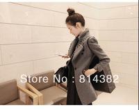 Women Trench Hooded Denim Jacket Women Blends Long Length Plus Size Solid Coat Pockets Single Winter Grey S~XL Free Shipping