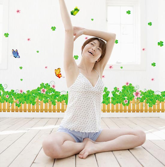 Free shipping lucky clover butterfly flowers cartoon wall stickers