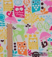 Zakka Korean Japan Lovely pink Owl Pattern Linen Fabrics cotton linen fabric 145*100cm  Free Shipping 2013FL05