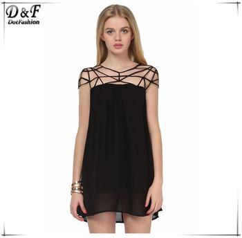 2015 Vestidos Femininos Summer New Brand Desigual Fashion Women Cute Sexy Black Hollow Out Girl Cut Out Shift Chiffon Mini Dress