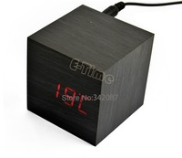 Modern Square Red Light LED Display Sound Activated Digital Wood Wooden Alarm Clock Thermometer  8747