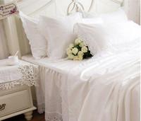 4pcs/6pcs snow white comforter set queen princess bedding set king size hot sale duvet cover bedclothes bed set