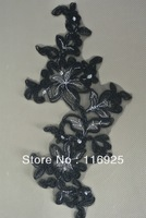 Black Embroidery Lace Motif With Corded and Silver Matallic Thread Embroidery Applique,12 pcs/lot