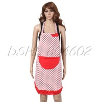 Canvas Bow Red Dot Pattern Apron With Ellipse Pocket for Cooking Kitchen DSHL