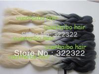 stock! factory cheap price ombre black/ blonde 100% super kanekalon jumbo braid hair free shipping