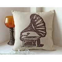 Free Shipping Rustic Linen Decorative Pillow Cover Vintage  Pillow Case 45cmx45cm Phonograph Style
