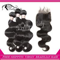 Pretty lady hair closure and bundles Brazilian  virgin hair body wave human hair extension aliexpress uk free shipping