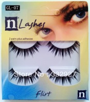 High quality 2 false eyelashes gl07 slender natural black cross bare makeup
