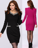 2014 Good quality plus size Women's OL long-sleeve V-Neck Beaded Sexy Hip Slim one-piece Dress L- 4XL
