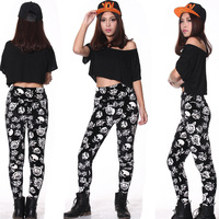 2014 New High Waist Fitness Pants For Women Skull Rose Printing Elastic Gym Trousers Yogo Ready Stock 3 Colors S M L XL