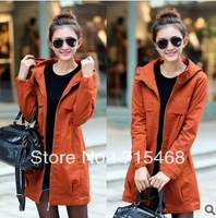 2013 autumn and winter women's coat / zipper loose women long overcoat / women outerwear / 3 color M-XXXL