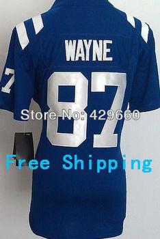 Wholesale Cheaper Hot #87 Reggie Wayne Women's Jersey White/Blue Rugby Football Jerseys American Game Jersey Size S M L XL XXL