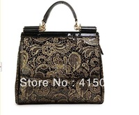NEW 2013 Autumn and Winter Fashion Miss sicily Gold Lace border area Glossy Brand designer one shoulder handbag women's handbag