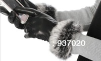 2013 women's winter leather gloves Motorcycle sheepskin gloves Rabbit wool cloth with soft nap warm gloves For women