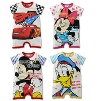 Retail New 2013 Summer Rompers Baby Clothing Cartoon Jumpsuit Cotton Rompers Baby Boys Girls Rompers
