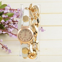 Hot New European And American Fashion Exaggerated Screw Supply Cable Chain Watch Leather Quartz Watch
