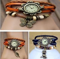 2013 New Hot Lady Antique Leaves Women Leather Grade Antique Watch Bracelet Watches With High Quality