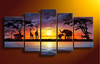 Free shipping factory sale 100% Hand painted hand-painted wall art Hill African elephants oil painting 5pcs/set wood Framed