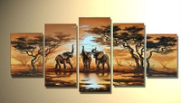 Free shipping,The African Elephant !! 100% Handmade Modern Landscape Canvas Oil Painting ,Large Wall Art ,Top Home Decoration