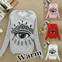S41 New 2013 Autumn Hoodies Sweatshirt Women Fashion Eye Print Sport Suit Fashion Pullover Fleece Winter Warm Sweatershirts