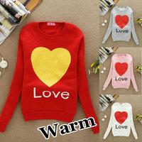 S45 Hot sale!! Women's LOVE HEART Hooded Sweatshirts Outwear Hoodies Ladies fashion cartoon Coat Free shipping