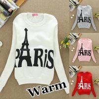 S46 Best selling! women star Paris Eiffel Tower casual hoodies sweatshirt Couple Baseball free shipping