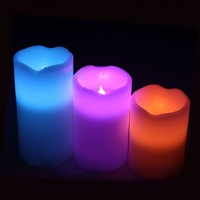 Flameless RGB LED Colorful Candle Light Set Pillar Paraffin Wax Color Changing with Timer