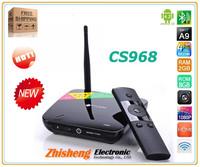 Hot-selling CS968 Quad Core Android TV Box RK3188 1.6GHz Quad Core Mali 400 GPU RAM 2GB ROM 8GB Bluetooth 4.0 Free shipping