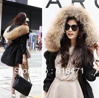 2013 winter large raccoon collar wadded jacket slim waist cotton-padded fur overcoat cotton-padded jacket women winter jacket
