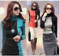 free shipping tops new 2014 autumn -summer women wool turtleneck  pullovers long sleeve cardigan plus size women crochet