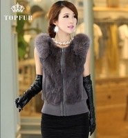 Free shipping EMS luxury rabbit fur coat with big fox fur collar women's knitted real rabbit fur vest fur jacket  TF0499