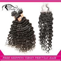 Pretty lady closure and bundles Peruvian Virgin Hair Extensions deep curl weave natuarl color aliexpress uk Free shipping