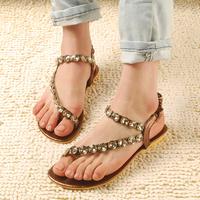 sapatos Sandalias Fashion rhinestone lambdoid women's flip-flop shoes flat beaded flip Femininas Rasteirinha Rasteira Chatitas