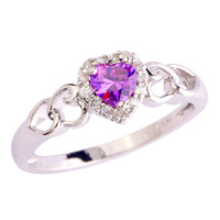 Wholesale Beauty Women Top Jewelry Rings Engagement Heart Cut Amethyst & White Sapphire 925 Silver Ring Size 7 8 9 10