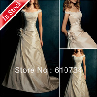 In Stock PS08 Cheap Champagne Color Taffeta Beaded Feather Short Train Off Shoulder Prom Dress 2014