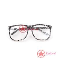 [Hot] Large Square Clear Lens Leopard Frame Wayfarer Nerd Glasses 03 wholesale