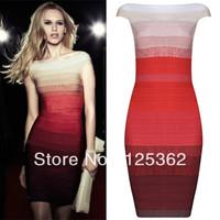 Elegant slash neck ombre red/grey bandage dress free shipping