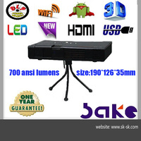 Free shipping New arriveal Sake s60 DLP Full Hd 3D Video Projector 1280*800 with usb/hdmi/speaker/battery
