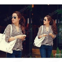 Fashion Womens Casual Leopard Print Button Down Top Shirt Blouse