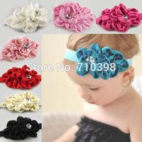 MOQ 30Pcs New Style Rhinestone Headband Hairband Baby Girls Flowers Headbands Kids Hair Accessories Baby Christmas Gift