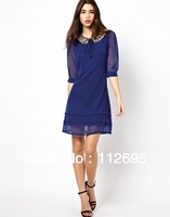Free  shipping woman chiffon  ladies  office  dress, inventory  goods  from  european  famous  brand
