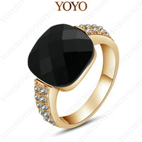 New Arrival 18K Rose Gold Plated shining Austria Crystal Black Onxy Ring(YOYO R210R2)