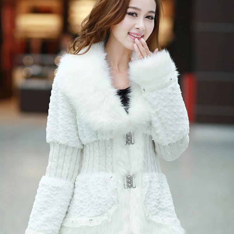 2014 Autumn Winter Fashion Women's Outerwear Rabbit Fur Slim Fur Coat ...